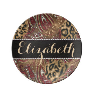 Leopard and Paisley Pattern Print to Personalize Plate
