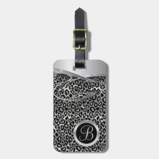 Leopard and Silver Decorative Metal Print Luggage Tag