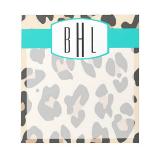 Leopard and Teal Monogram Notepad