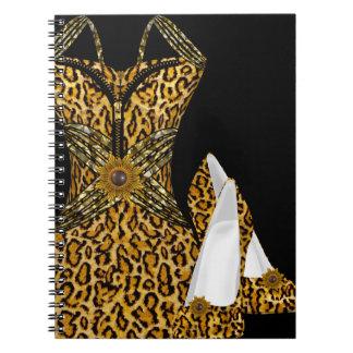 Leopard Animal High heel Shoes Dress Spiral Notebook