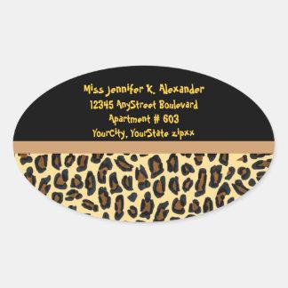 Leopard Animal Print Address Labels Oval Sticker