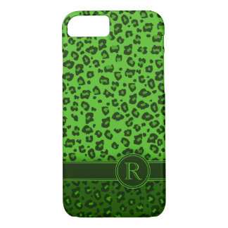 Leopard animal print green monogram iphone 5 case