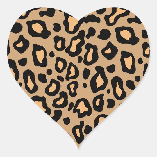 Leopard Animal Print Heart Stickers