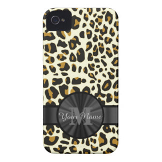 Leopard animal print monogrammed Case-Mate iPhone 4 case