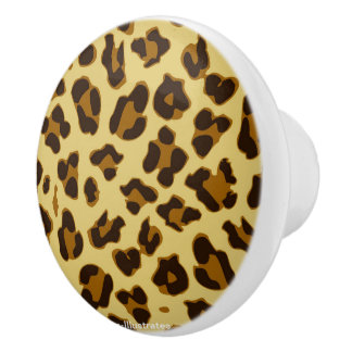 Leopard Animal Print Pattern Doorknob Ceramic Knob