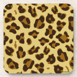 Leopard Animal Print Pattern Pastic Coaster Set