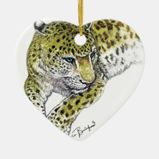 Leopard Art Print Ceramic Heart Decoration