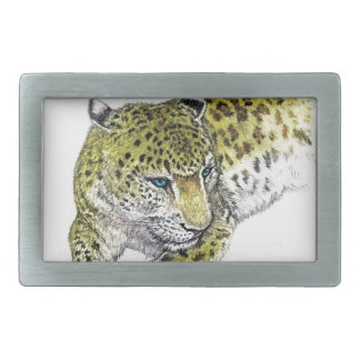 Leopard Art Print Rectangular Belt Buckles