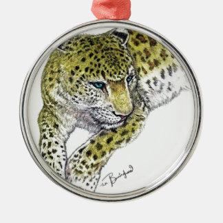 Leopard Art Print Silver-Colored Round Decoration