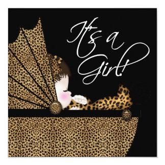 Leopard Baby Girl Shower Card