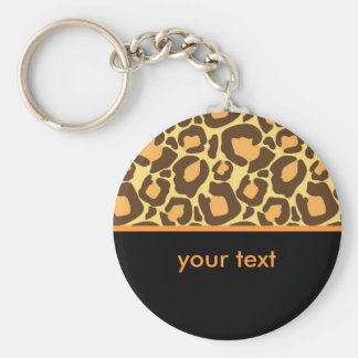 Leopard Basic Round Button Key Ring