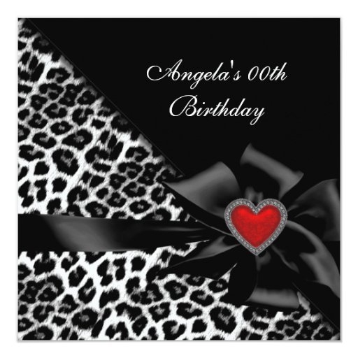 Leopard Birthday Party Red Heart Black 5.25x5.25 Square Paper Invitation Card