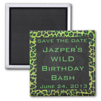 Leopard Black and Green with Monogram Square Magnet