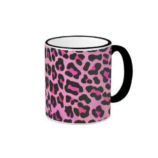 Leopard Black and Hot Pink Print Mugs