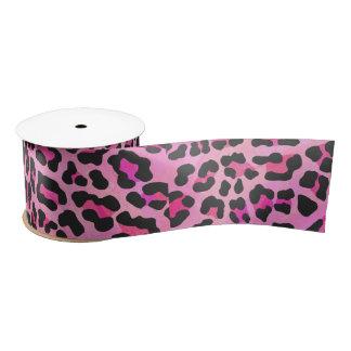 Leopard Black and Hot Pink Print Satin Ribbon