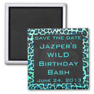 Leopard Black and Teal Print Square Magnet