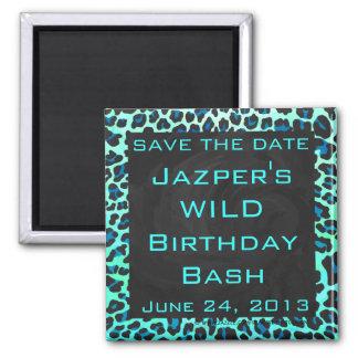 Leopard Black and Teal Print Square Magnet