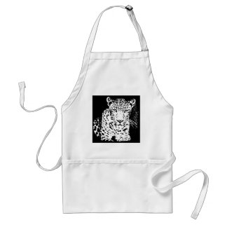Leopard Black And White Portrait Apron
