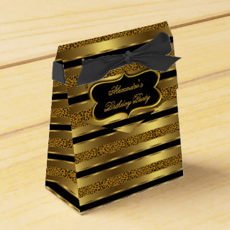 Leopard Black Gold Birthday Party Favor Gift Box 2 Wedding Favour Boxes