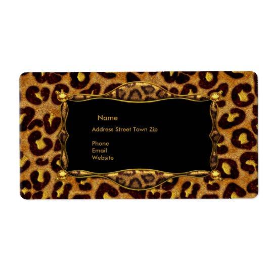 Leopard Black Gold Label Address Shipping Label
