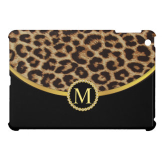 Leopard Black Gold Monogram iPad Mini Covers