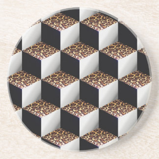 Leopard Black White Shaded 3D Look Cubes Beverage Coasters