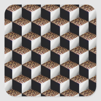 Leopard Black White Shaded 3D Look Cubes Square Sticker
