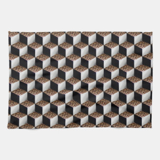 Leopard Black White Shaded 3D Look Cubes Tea Towel