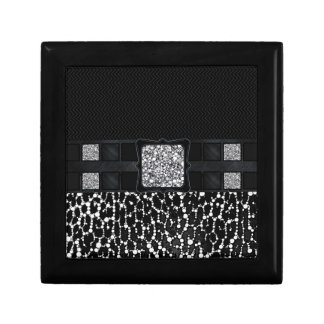 Leopard Bling Monogram Small Square Gift Box