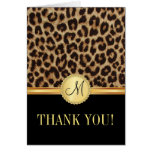 Leopard Bling Monogram Thank You Cards
