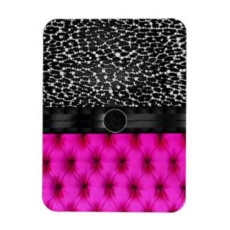 Leopard Bling Pink Cushion Monogram Rectangular Photo Magnet