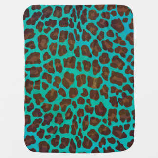 Leopard Brown and Teal Print Buggy Blanket