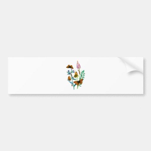 Leopard Butterflies & Caterpillar and WIldflowers Bumper Stickers