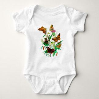 Leopard Butterflies & Caterpillars & Pink Thistle Baby Bodysuit