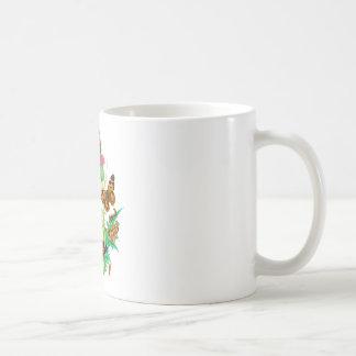 Leopard Butterflies & Caterpillars & Pink Thistle Basic White Mug