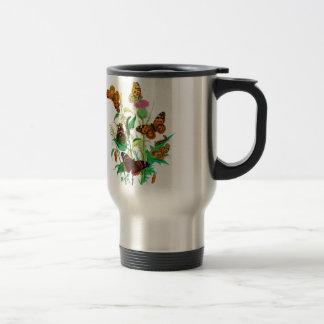 Leopard Butterflies & Caterpillars & Pink Thistle Stainless Steel Travel Mug