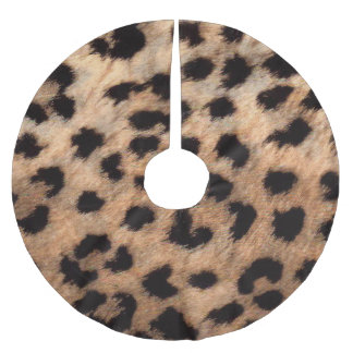 Leopard Cheetah Animal Print Brown Tan Modern Glam Brushed Polyester Tree Skirt