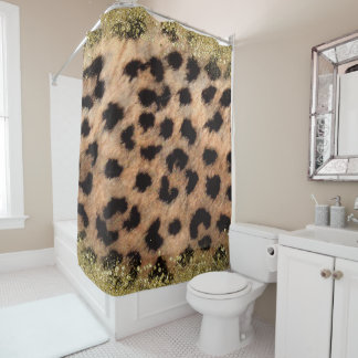 Leopard Cheetah Animal Print Gold Glitter Modern Shower Curtain