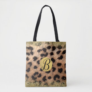 Leopard Cheetah Animal Print Gold Glitter Monogram Tote Bag