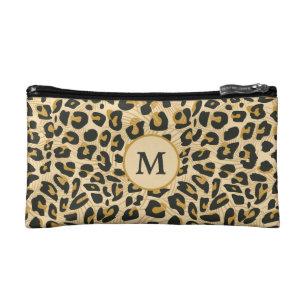 4d90ff7ccd66 Leopard Cheetah Animal Print Pattern Monogrammed Cosmetic Bag