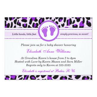 Leopard Cheetah Baby Girl Shower Invitation Purple