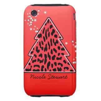 Leopard cheetah Christmas Tree 3G/3GS Case-Mate iPhone 3 Tough Cases