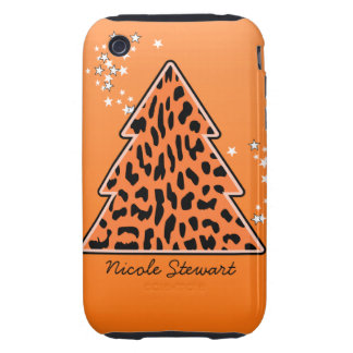 Leopard cheetah Christmas Tree 3G 3GS Case-Mate Tough iPhone 3 Case