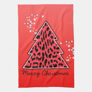 Leopard cheetah Christmas Tree Towel