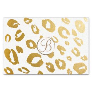 Leopard Cheetah Gold Print Monogram Letter Initial Tissue Paper