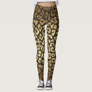 Leopard Cheetah Print Animal Skins Gold Ombre Leggings