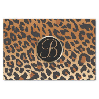 Leopard Cheetah Print Spot Monogram Letter Initial Tissue Paper