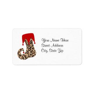 Leopard Christmas Holiday Stocking Address Label