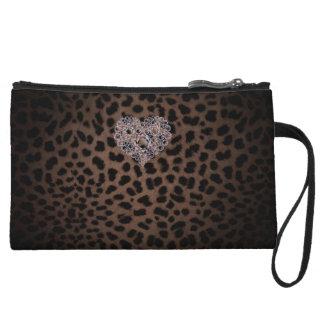 Leopard clutch bag wristlet clutch