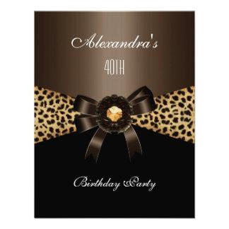 Leopard Coffee Brown Black 40th Birthday Custom Invites